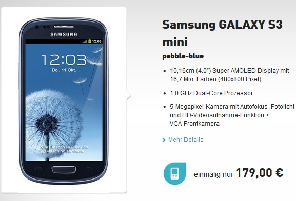 samsung galaxy s3 base Samsung Galaxy S3 mini pebble blue für 179€