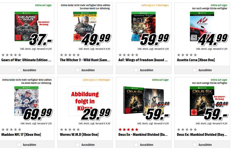 media markt 3 xbox one games kaufen und nur 2 bezahlen. Black Bedroom Furniture Sets. Home Design Ideas