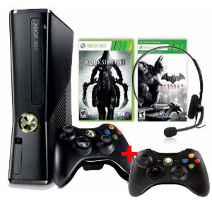 xbox360 bundle badman [Schnäppchen] Amazon   Microsoft Xbox 360 slim 250 GB + Batman: Arkham City [Download] + Darksiders 2 + zweiten Controller für 199€
