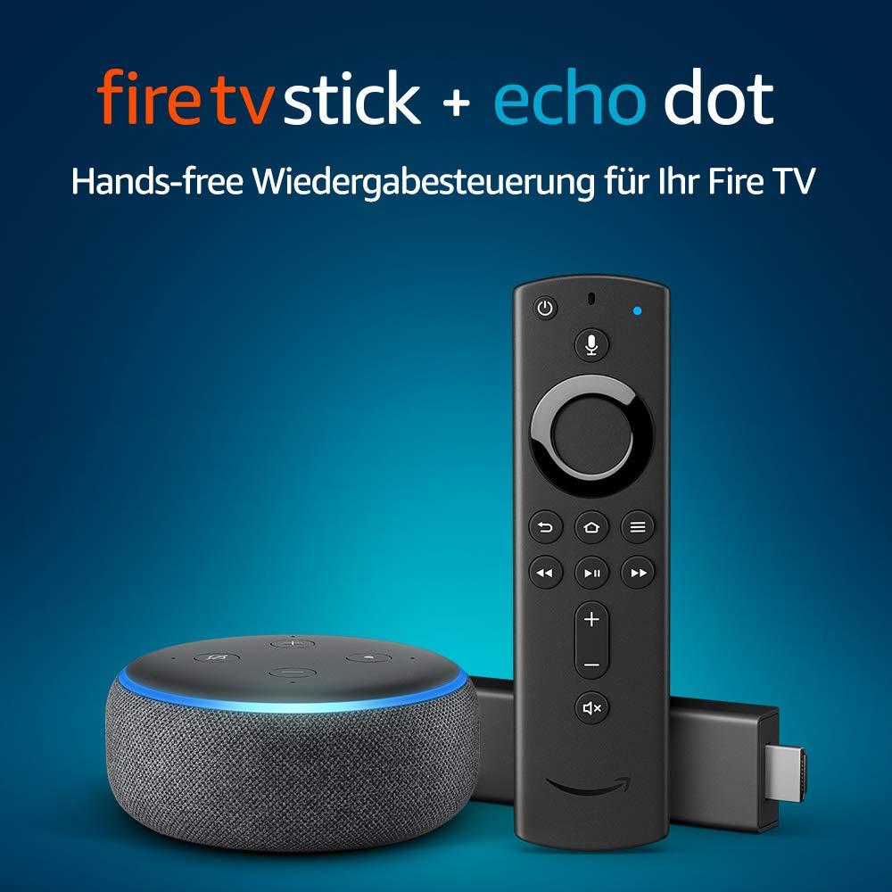 fire tv stick mit alexa sprachfernbedienung echo dot 3. Black Bedroom Furniture Sets. Home Design Ideas