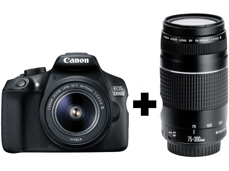 canon eos 1300d spiegelreflexkamera mit ef s 18 55mm 75 300mm objektiv f r 299 statt 408. Black Bedroom Furniture Sets. Home Design Ideas