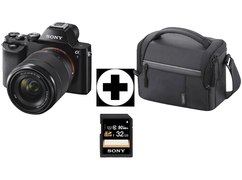 sony alpha 7 kit 28 70 mm systemkamera mit tasche 32gb. Black Bedroom Furniture Sets. Home Design Ideas