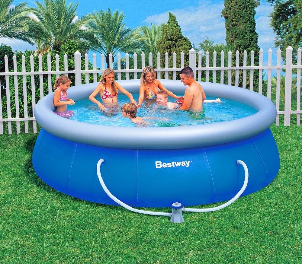 Bestway fast set swimming pool inkl filterpumpe 366x91cm for Swimming pool preisvergleich